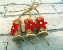 Set of 3 Rustic Wood Spool Ornaments with Red and Silver decoration, Christmas Tree Ornaments,  Christmas Tree Decorations