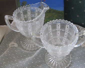 Antique Circa 1940s  Crystal  Trophy Clear Creamer &  Open  Sugar bowl  Mint