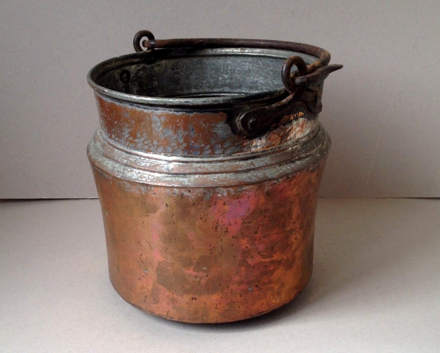 Antique Copper Pot Copper Planter Copper Bucket Tin Bucket