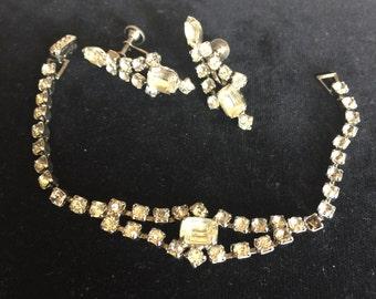 Vintage Rhinestone Bracelet and Earing set