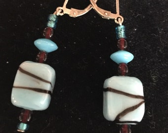 Blue / red glass beaded earings