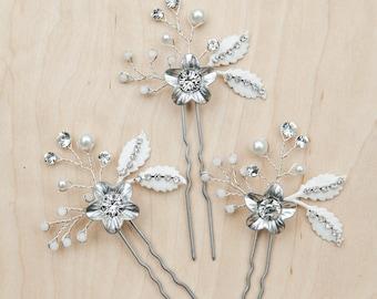 Floral bridal hair pins, silver hair pins, crystal bridal hair pins, bridal bobby pins, bridal headpiece, wedding pins, crystal bobby pins