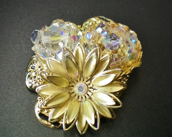 Gold and crystal floral collage pin, Recycled jewelry, Handmade jewelry, Repurposed jewelry, Upcycled jewelry, Free USA shipping,USA/MI made