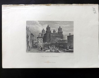 Finden C1835 Antique Print. The Castle of Ferrara, Italy