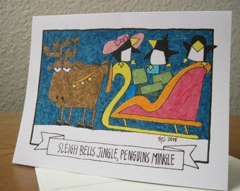Sleigh Bells Jingle, Penguins Mingle -- Holiday Note Card -- Purple Background (#HLDY001) (#3)