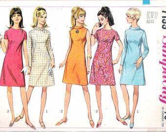 "Vintage 1967 Simplicity 7199 Mod Dress Sewing Pattern Size 12 Bust 32"" UNCUT"