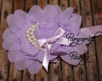 Baby Headband, Shabby Headband,  Lavender Headband, Stretch Headband, Infant Headband, Wedding Headband, skinny Headband, Flower Headband
