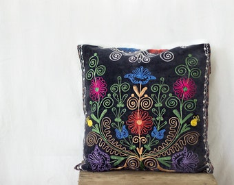 Uzbek suzani pillow, 18x18, SINGLE, couch pillow, silk cotton, charcoal velour pillow case, velvet cushion cover, floral needlework
