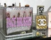 RESERVED LISA 1 Large Bling Glass Brush Holder, Glitter, Pearls, Rhinestones, 2 Vinyl Decals