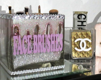 1 LARGE CUBE Extra Bling Glass Brush Holder and 1 Set of PERSONALIZED Makeup Brushes Choose your Custom Colors