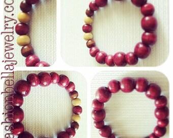 Burgundy wood bracelet for women