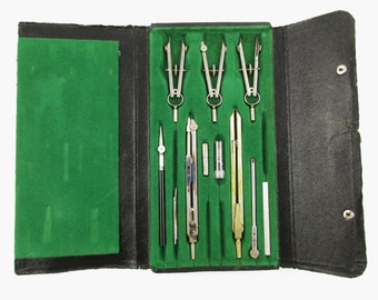 Beautiful Set of Vintage 'Lutz' Drafting Tools - Industrial Drafting Set From W. Germany - Steampunk - Drafting - Architecture