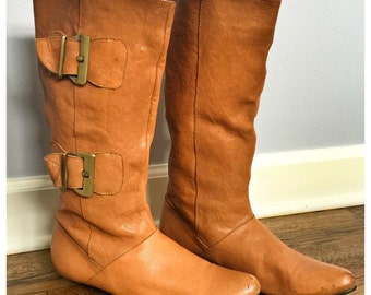 Vintage caramel colored leather boots- size 9