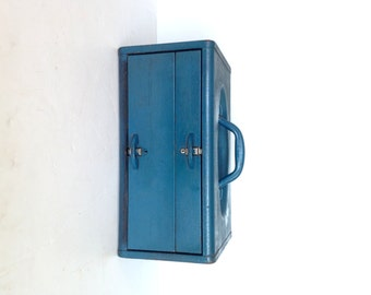 Vintage Kennedy Tackle Box, Kennedy Kits Tool Box, Blue Metal Tool Box with 2 Drawers, Kennedy TC-14 Tackle Box with Dividers