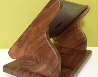 Black Walnut iPad Air Stand with Swivel Base for Square, and other POS card readers - Wonderful Grain in Walnut
