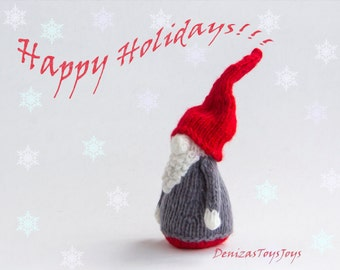 Small Gnome - pdf knitting pattern ( knitted in the round ).  Christmas Ornament. New Year Ornament.