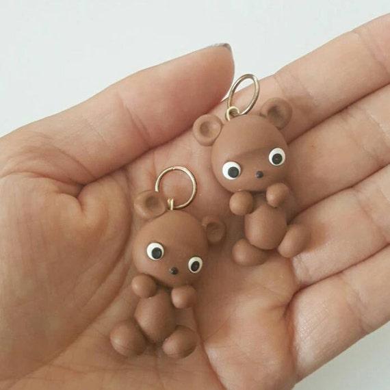 Cute Kawaii Grizzly Bear Polymer Clay Charm, Bear Clay Pendant, Brown Bear, Charm, polymer clay, clay pendant, Kawaii, Chibi, Clay Charm