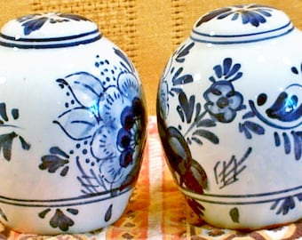 Vintage, Blue and White Salt And Pepper Shakers, Numbered on Bottom