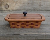wooden business card or pen box with lid Red Elm wood