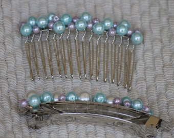 Hand Beaded Hair Comb and Barette