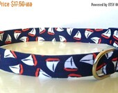 "Sale 50% Off Nautical White & Orange Sail Boats on Navy Fabric Dog Collar -""Sailing"" - NO EXTRA Charge for colored buckles"