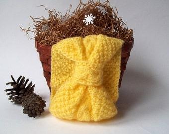 SALE - 75%OFF. Yellow Headband, Knit Head Wrap. Knitted Head Warmer.