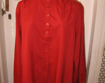 1980s long sleeve maroon red Josephine polyester blouse size 14 fold up button tab sleeves mandarin collar polo over the head