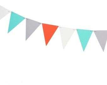 Aqua Orange Gray White Pennant Banner - Triangle Banner - Shark Birthday - Surfing Birthday - Surfer Birthday - Boy Birthday Banner