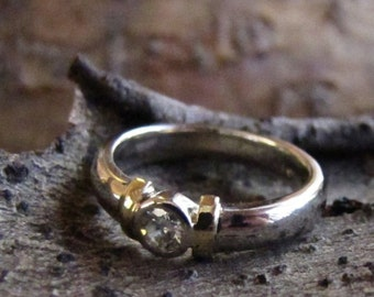 DEADsy LAST GASP SALE Golden Bud : Solitaire Diamond Vintage Engagement Ring, White and Yellow Gold Single .25ct Diamond Designer Wedding Ri