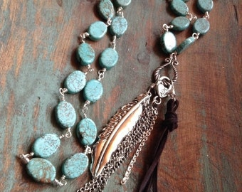On Sale Western turquoise magnesite , silver feather and black deerskin leather tassel rosary style necklace