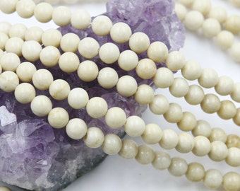 Lot of 5 strands 6mm Ivory White Fossil Jasper (N) Loose Spacer Beads Round 15.5 inch strand (BD5939)