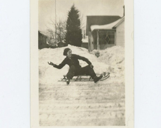 Vintage Snapshot Photo: Helen Hurls a Snowball, 1936 (69502)