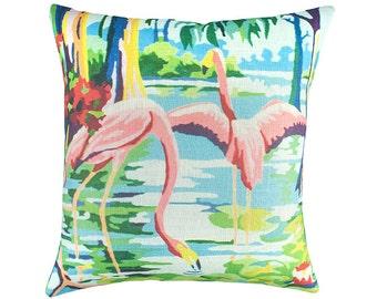 Colorful Flamingo Pillow, Florida Coastal Decor