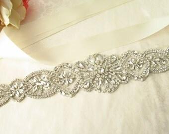 Crystal Beaded Bridal Sash / Rhinestone Bridal Sash /  Ribbon Bridal Sash
