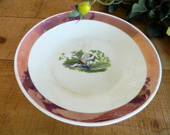 Antique Early 19th Century Staffordshire Pink Luster Transferware Bowl Child with Goat