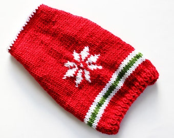 Red Hand Knit Dog Sweater with Snowflake