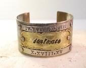 Custom Order Soulmate Roman Numerals Hand Stamped Bracelet Valentine Wedding Anniversary Gift Etched Metal Love Is Patient