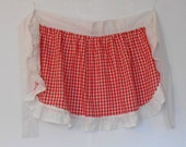 Vintage half Apron Red & White Gingham with Ruffle