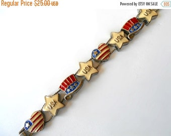 Vintage Slider Charm Bracelet Patriotic Red White and Blue