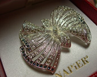 Napier Bow Brooch Mint in Gift Box Silver Crystal Sapphire blue