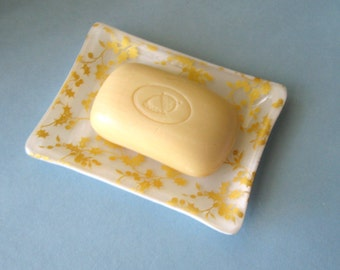 Fused glass soap dish - white with gold holly