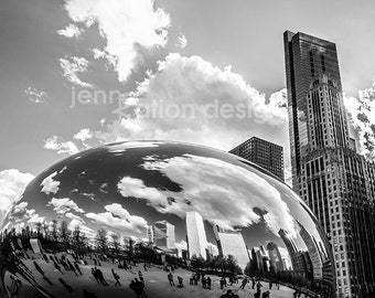 "Chicago Photography, The Bean, Chicago Black and White, Cloudgate, Skyline, Architecture, Millennium Park, Black & White Photo 8""x10"" Print"