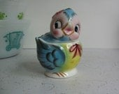 Vintage Lefton Blue Bird/Bluebird Covered Sugar Bowl, Anthropomorphic, Japan #7170