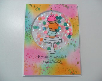 Birthday Card - Cupcake Shaker Card - Watercolor Card - Have a Sweet Birthday - BLANK Inside