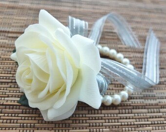 Wrist Corsage, Off White Rose with Glimmer Silver ribbon on pearl bracelet, Wedding Corsage
