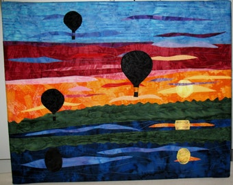 "Hot Air Balloons at Sunset - Quilted Fiber Art on Canvas - 16"" x 20"""