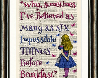 Alice in Wonderland Quote 3 Pink Upcycled vintage book page print on a late 1800s Dictionary page Buy 3 get 1 FREE