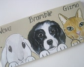 Personalised Pet Sign 3 or 4 animals with cartoon style portrait picture of your animal rabbit guinea pig cat dog goat horse hamster etc