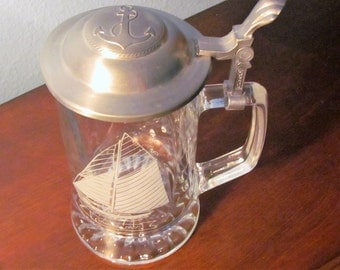 """Vintage Etched Glass Stein Titled """"Columbia 1901"""" made in West Germany"""
