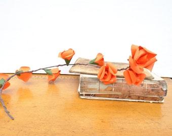 Fall Garland, Orange paper flower garland, fall wedding decor